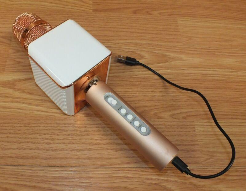 Pink / Rose & White Bauhn Karaoke Microphone & Speaker w/ User Guide **READ**
