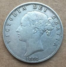 1882 Great Britain Young Victoria Sterling Silver Half Crown XF No Rim Dings