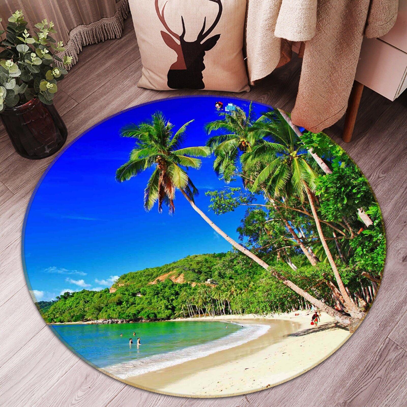 3D Étage Plage Palm 1033 Étage 3D Antidérapant Natte Rond Élégant Tapis FR Summer 0c636d