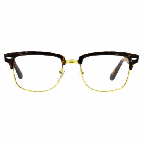 Mens Luxury Designer Half Horned Rim Hipster Nerdy Clear Lens Eye Glasses