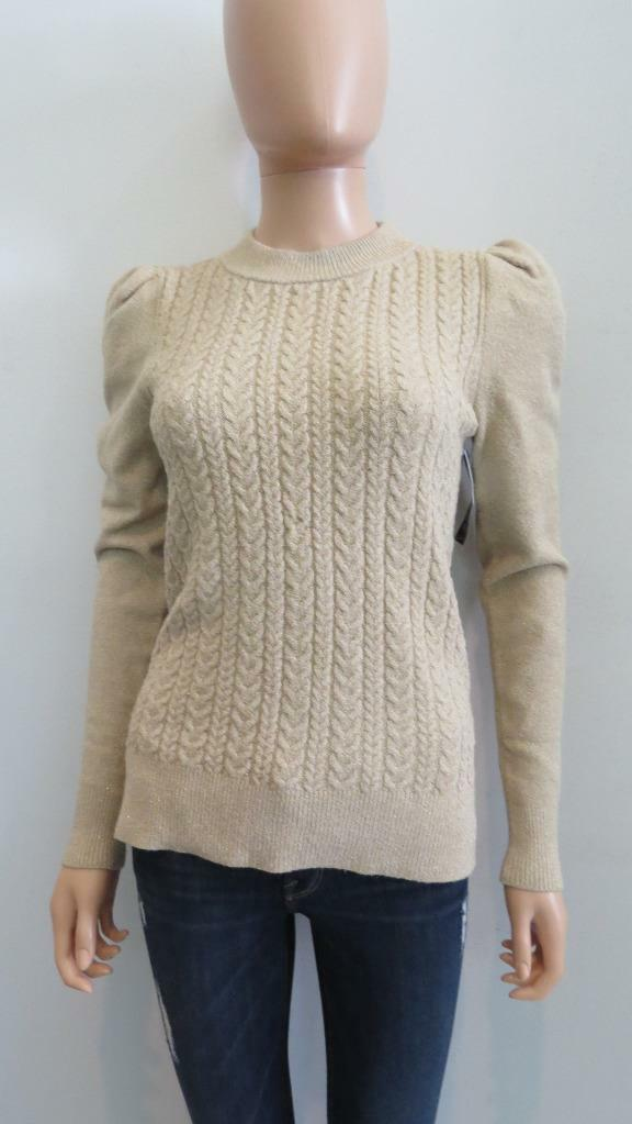 NWT Co Metallic Beige   guld Cable Knit Long Slieve tröja Storlek