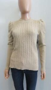 30483e7c6fd2 NWT Co Metallic Beige Gold Cable Knit Long Sleeve Sweater Size S