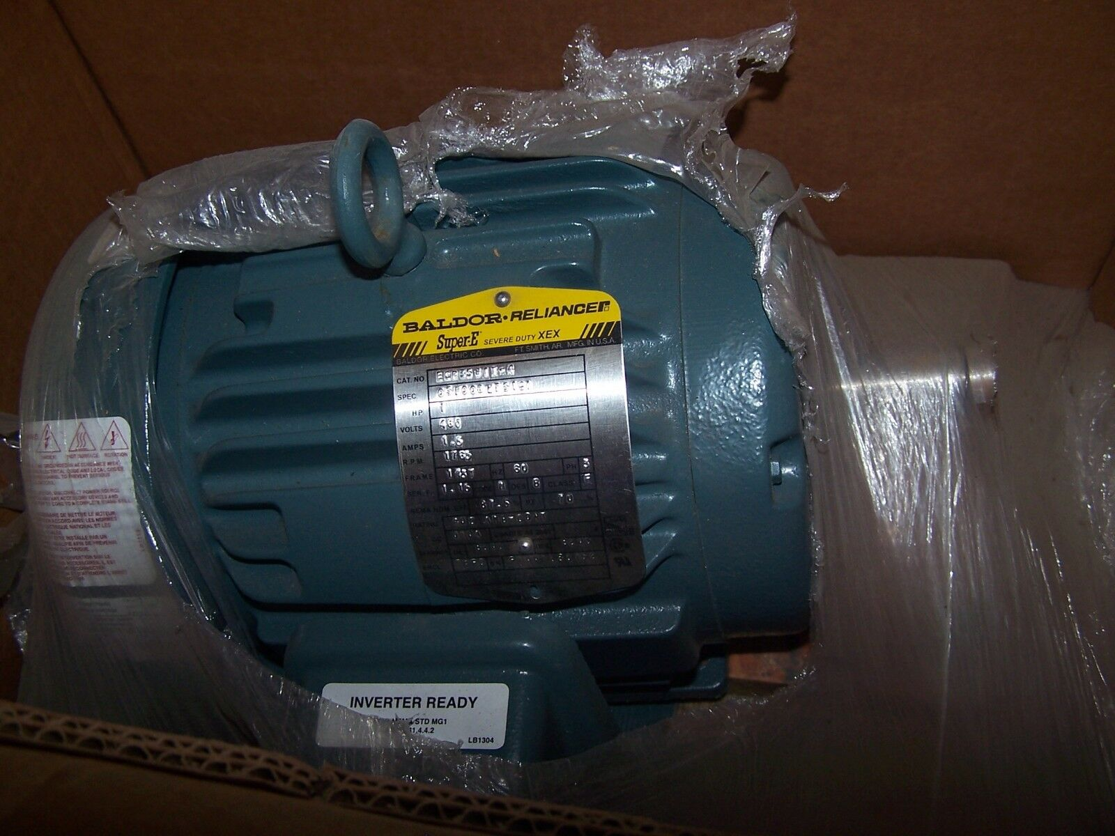 NEW BALDOR SEVER DUTY 1 HP AC ELECTRIC MOTOR ECP3581T-4 FRAME 143T 460 VAC