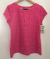 Inc International Concepts Hot Pink Sequined T-shirt Top Knit Shirt Sz L