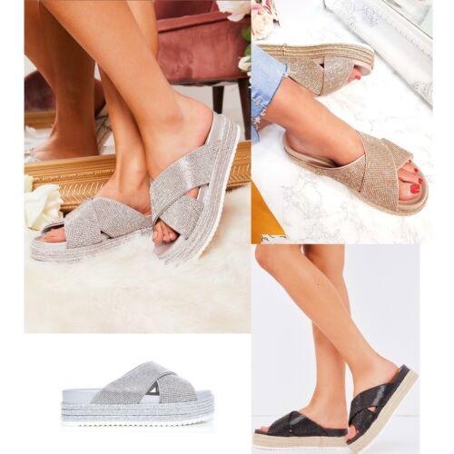 Sparkly Sandals Slip On Sliders Platform Diamante Summer Donna AwvqUfx