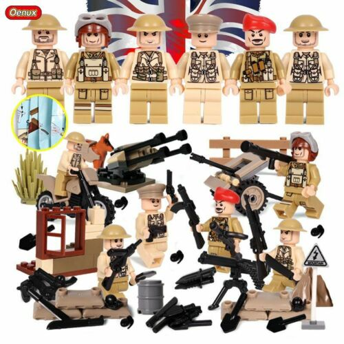 World War 2 Soldiers Minifigures fit Lego with Weapons Big Military Sets WW2