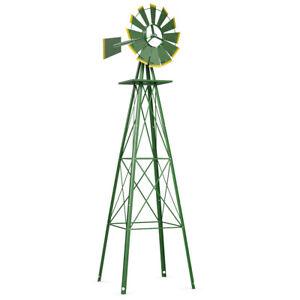 8Ft-Tall-Windmill-Ornamental-Wind-Wheel-Green-And-Yellow-Garden-Weather-Vane