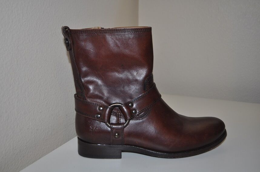 NEW 348 FRYE Sz 6 MELISSA HARNESS Zip Short Ankle Boot Redwood Leather BROWN