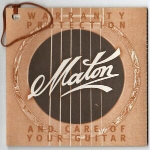 MATON-325-Series-Warranty-amp-Guitar-Care-Manual-Good-Condition