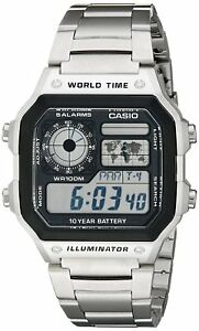 Casio-Men-039-s-Quartz-Multifunction-Silver-Tone-Bracelet-42mm-Watch-AE1200WHD-1A