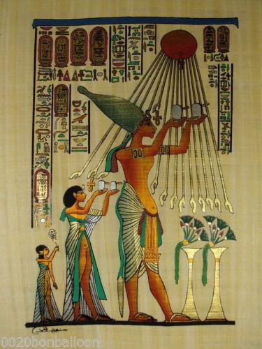 "AKHENATON OFFER TO ATON SUN ORIGINAL HAND PAINTED PAPYRUS 12/""x16/"" 30x40 CM"