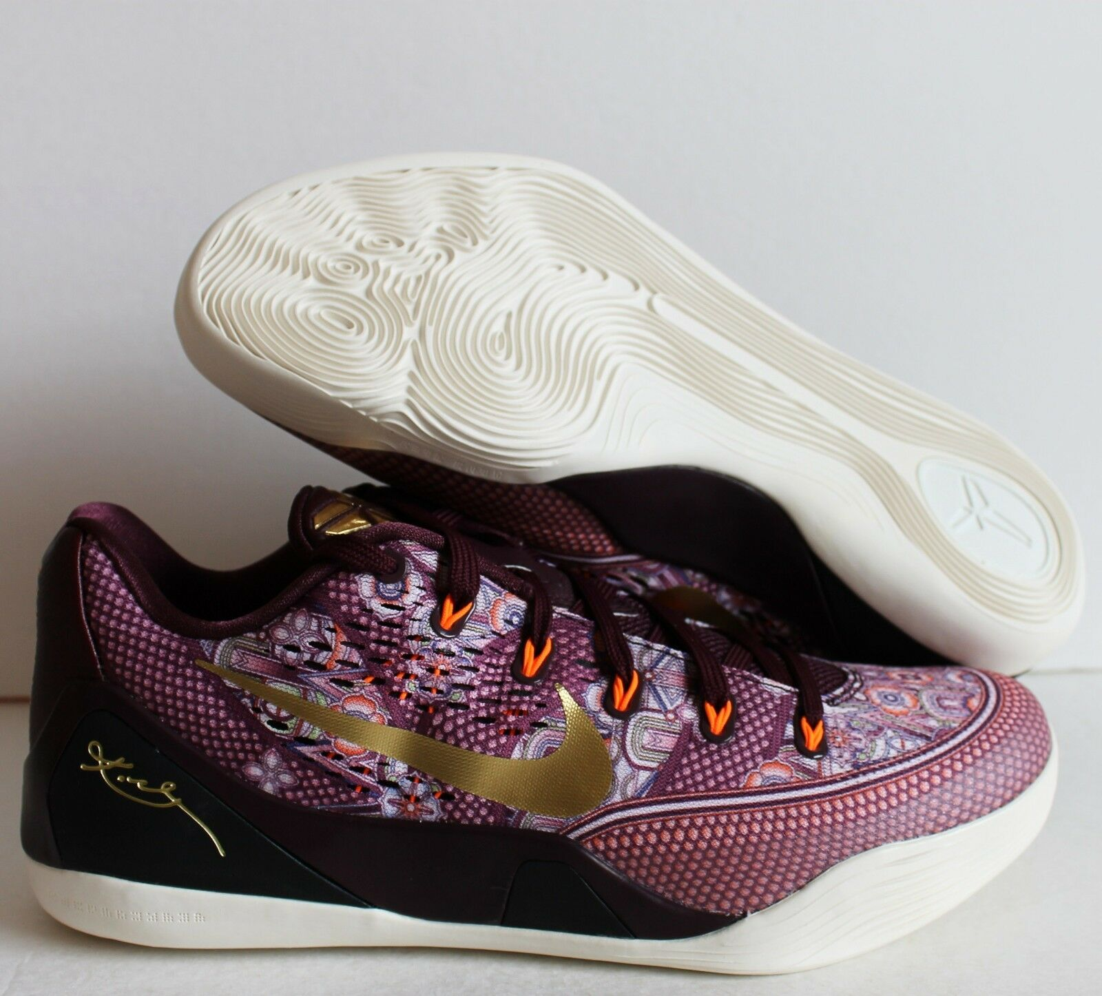 NIKE KOBE IX MERLOT-METALLIC GOLD-TOTAL ORANGE SZ 12 [646701-676]