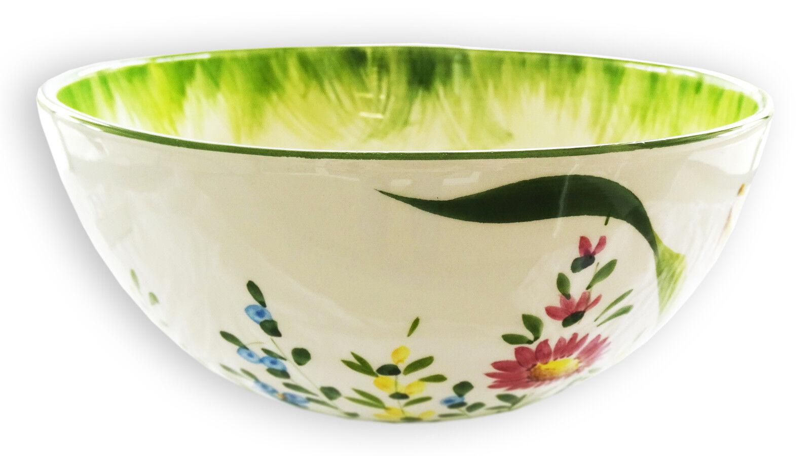 Italienische Keramik Schale Blumenwiese Schüssel Groß Servierschale