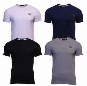 Cuello-redondo-para-hombre-Superdry-Orange-Label-de-manga-corta-Camiseta-Negro-Gris-Azul-Marino