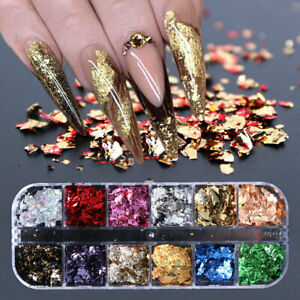 12-Colors-Box-Metallisch-Nail-Art-Folie-Aufkleber-Colorful-Flakies-Nagel-Tips
