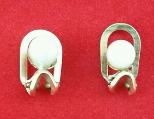 9 Carat 375 YELLOW GOLD VINTAGE PEARL  CLIP ON EARRINGS Fully Hallmarked, by Dix