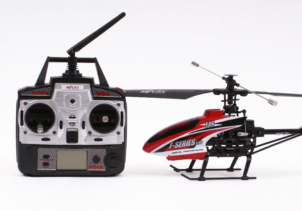 Complete Ready To Fly MJX F46 Radio Control Helicopter 4 Channel Beginner - Red