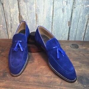 Men royal blue Tassels moccasins Men