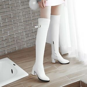 Womens-Long-Over-Knee-Boots-Block-Heels-Synthetic-Leather-Pointy-Toe-Solid-Shoes