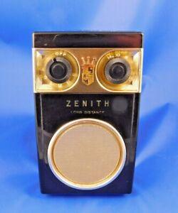 "VINTAGE ZENITH ""ROYAL 500 DELUXE""~""OWL EYES"" AM TRANSISTOR RADIO + CASE/STRAP"