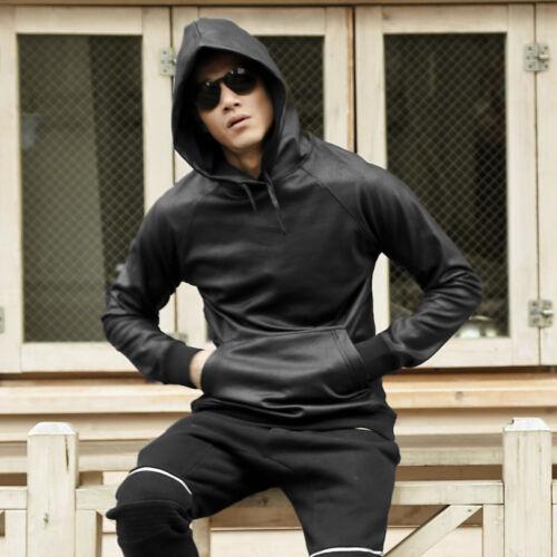 Herren Taschen PU Leder Sweatshirt Hoodie Pullover Mantel Jacke Hip-Hop Schwarz