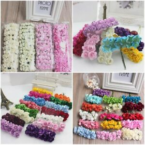 12-144pcs Miniature Mulberry Paper Rose Flower Cards Favours Craft Wedding Party