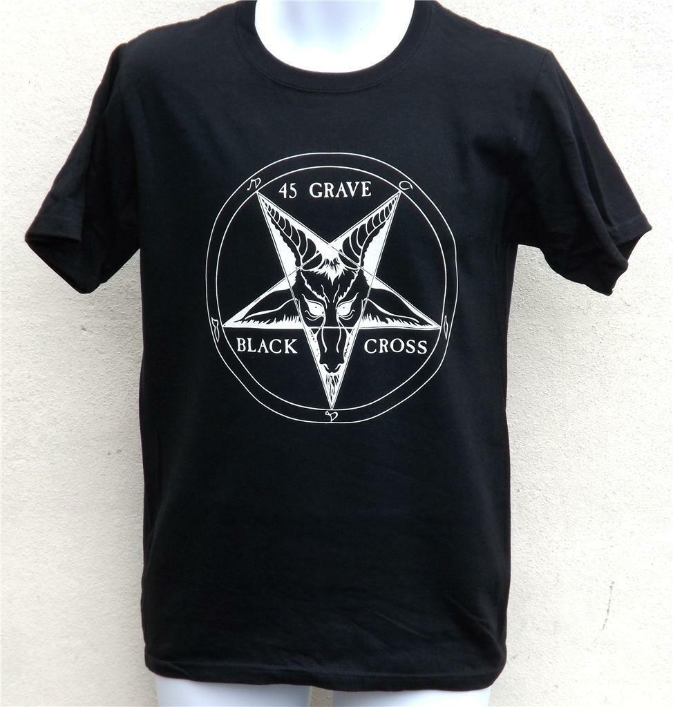 45 Grab Schwarzes Kreuz Logo T-Shirt - Punk Rock - Größen S Bis XXL