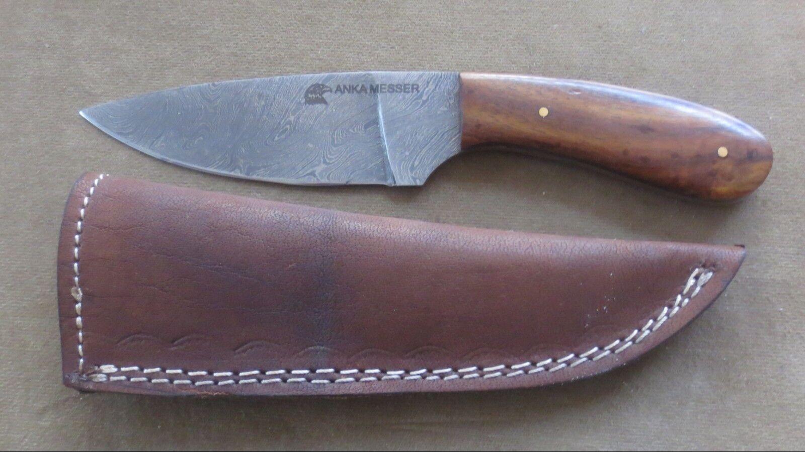 Anka Messer - Damastmesser-Taschenmesser-Jagdmesser stabile Gürtel Leder Scheide