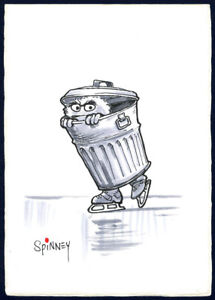 Details About Caroll Spinney 5 X7 Original Art Oscar The Grouch Trash Can Watercolor Psadna