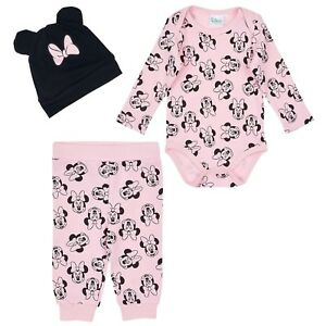 Disney-Minnie-Mouse-Baby-Girls-Outfit-Clothes-Gift-Set-Bodysuit-Trousers-Hat-3pc