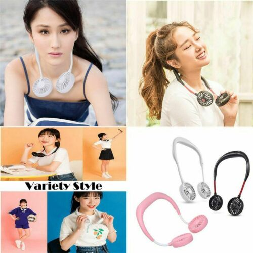 Portable USB Rechargeable Neckband Fan Lazy Neck Hanging Dual Cooling Mini Fans