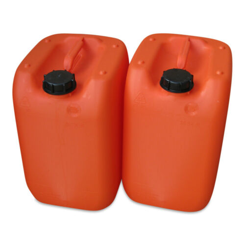 2 Stück 20 Liter Kanister orange gebraucht Plastekanister Kunststoffkanister