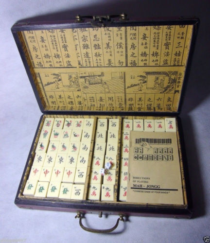 Exquisite 144 kacheln mah - jongg spiel mit holz drachen & phoeni box