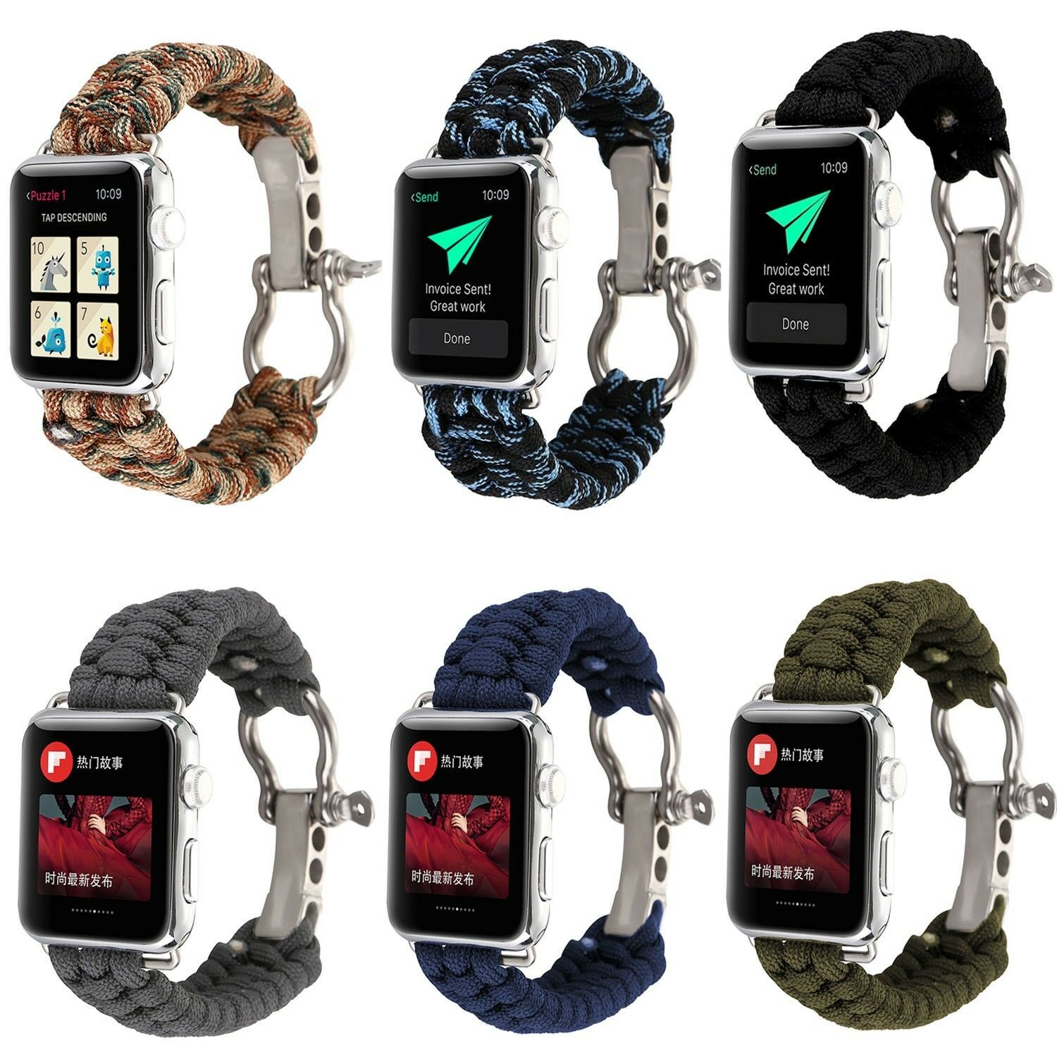 iwatch: Nylon Rope Bracelet Strap Watch Band For Apple Watch iWatch 6 5 4 3 40/44/38/42