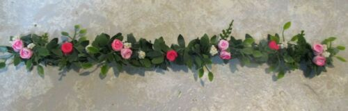 "Miniature doll//dollhouse 9/"" Hot pink//Varigated roses vine//garland"