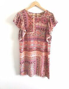 Kachel-Size-10-100-Silk-Tunic-Top-EUC-Pink-Pasiley-Indian-Print-Short-Sleeve