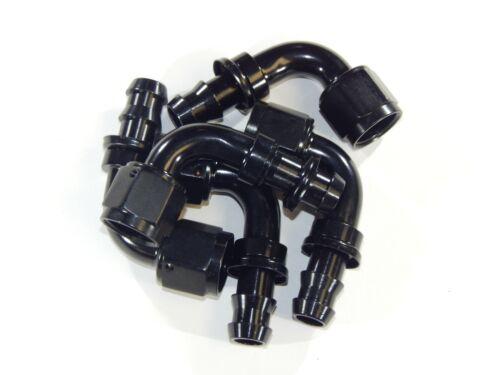 10AN 10 AN 90° Push Lock Loc Hose End Fitting Black Alum Bundle of 5