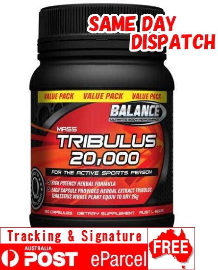 BALANCE -Testosterone TRIBULUS 20,000 180 Capsules -Testosterone BALANCE Levels-Mass Gain-Terrestris 509c05