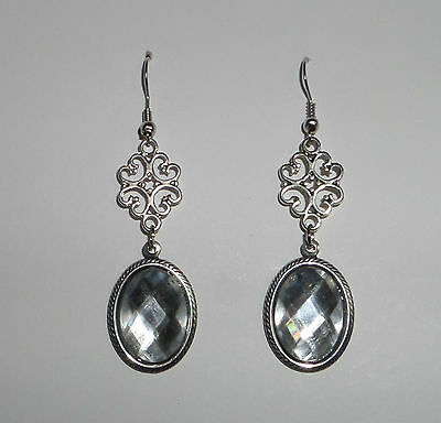 LACY FILIGREE VICTORIAN STYLE BLACK ACRYLIC STONES DARK SILVER PLATED EARRINGS