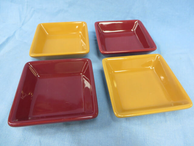 The Pampered Chef  Simple Additions 4 Square Sauce/Dip Bowls 4 1/2 inch