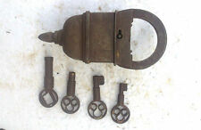 Old Looking 4 Keys Iron Tricky / Puzzle Pad Lock, Collectible, Rich Patina