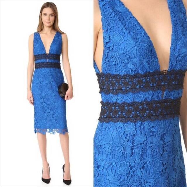 92bd45ffcb7d DVF Diane Von Furstenberg Viera Lace Dress US 4 Neptune Blue/black ...