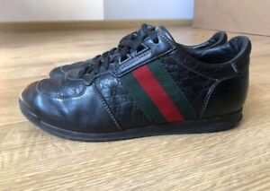 Gucci Sneakers Women Leather Striped Black GG Guccissima Low Shoes 234359 us 6.5