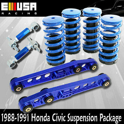 Front Rear For Honda Civic CRX 88-91 Suspension 4pc Lower Lowering Springs Blue