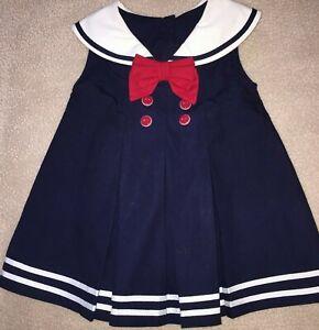 Gymboree Baby Girl Sailor Nautical Dress Navy Blue White 6 9 12 Month Euc Cotton Ebay