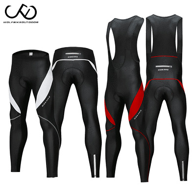 Black Mens Team Cycling Long Bib Pants MTB Padded Bike Long Bibs Tights Trousers