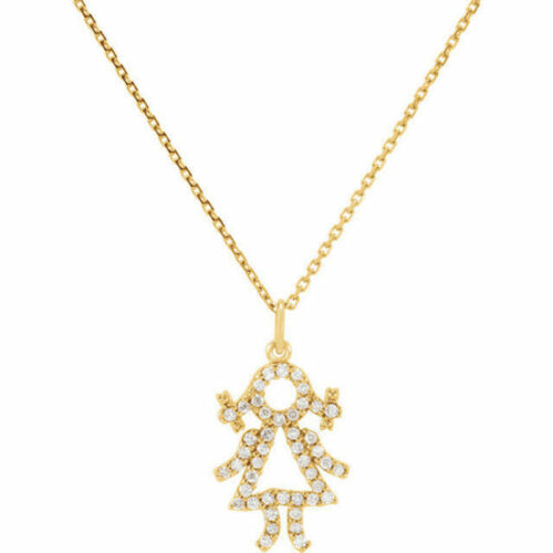 "Diamond Baby Girl 16"" Necklace In 14K Yellow Gold 15 ct. tw."