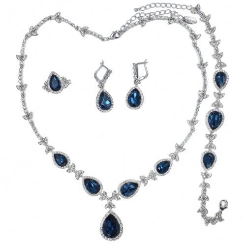 V486 VF Clear Crystal Alloy Blue CZ Earrings Bracelet Necklace Set Ring Size 8