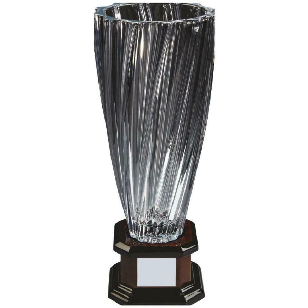 Crystal Vase with wooden base  award ,380mm, gift,FREE Engraving (KL830)TWT