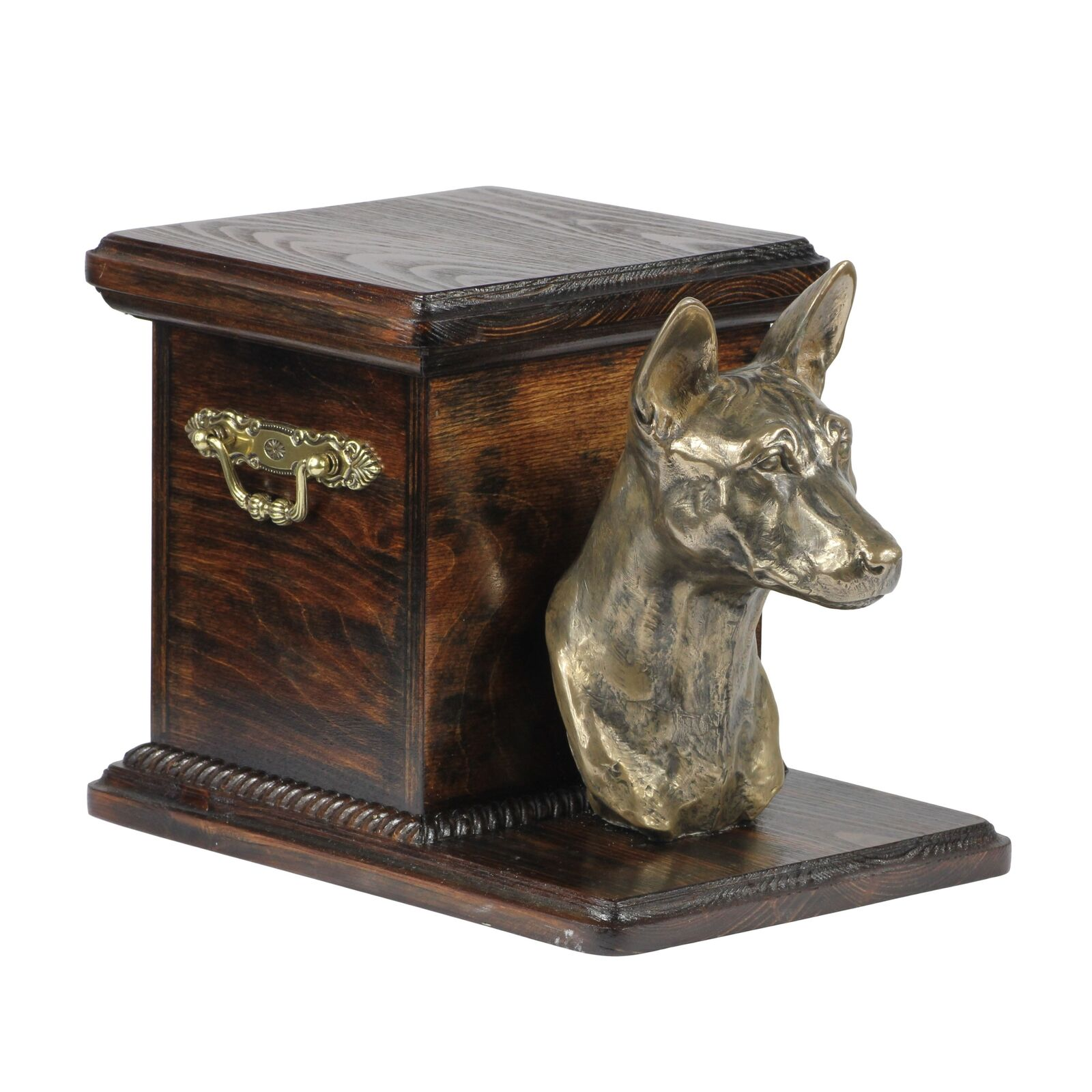 Basenji - wooden exclusive urn for dog with statue, Art Dog type 3
